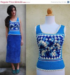 ON SALE Vintage 60s 70s Granny Square Sweater by littlelightVTG, $16.80