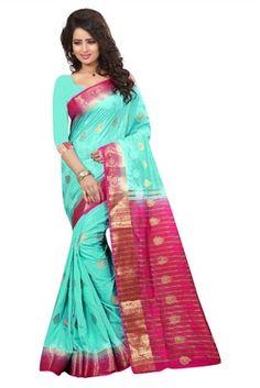 sky blue printed art silk saree with blouse - FASHION - 1569387 Art Silk Sarees, Tie Dye Skirt, Blouse, Skirts, Beautiful, Design, Fashion, Moda, Skirt
