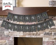 INSTANT DOWNLOAD //Merry Christmas Banner // Holiday Bunting // Party Decor // Chalkboard by ThePrettyPaperStudio, $8.00 CDN