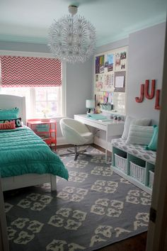 "House of Turquoise: Sarah Gunn Style  Ceiling color, back of cubbies and bookshelves - Benjamin Moore ""Light Touch""  Wall Color - Benjamin Moore ""Whitestone""   Bedding - PB Teen  Rug - West Elm  Letters - PB Teen  Roman blinds - Tonic Living  Bench cushion - Tonic Living  Bulletin board - PB Teen  Desk, chair, tall bookcase and pendant light - Ikea"