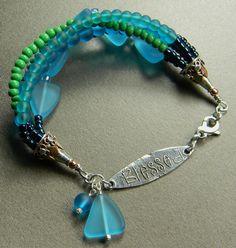 Blue Sea Glass Inspiration Bracelet by Gloria Ewing