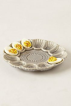 - Stratford Egg Platter - if only i like deviled eggs. I could do mini bruschetta though. Basil leaf, tomato and fresh mozzerlla with dipping sauce in the middle. Deviled Egg Platter, Deviled Eggs, Serveware, Tableware, Kitchenware, Pottery Lessons, Relish Trays, Antique Glassware, Egg Cups