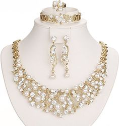 476614b3963f Amazon.com  Gold Plated Luxury Crystal and Simulated-Pearl Beads Necklaces  Jewelry Set