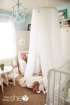 A Dreamy DIY Canopy Tent - great for a little girl's room! Diy Canopy, Canopy Tent, Bed Canopies, Tents, Diy Bett, Little Girl Rooms, Kid Spaces, My New Room, Kids Decor