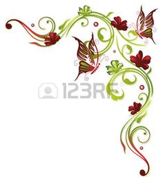 Red and green border, floral element photo