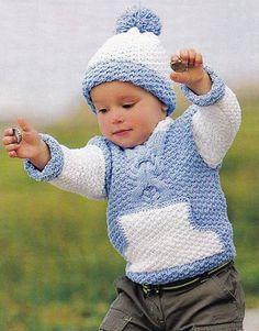 Модели вязания со схемами и описаниями: Вязаный детский джемпер с карманом и шапочка