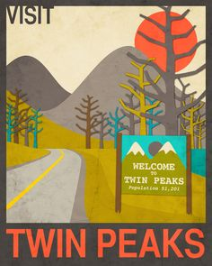 Home: Eleven Prints That Belong On Your Wall (via Visit Twin Peaks Art Print by Jazzberry Blue Twin Peaks Tv, Framed Art Prints, Fine Art Prints, Tv Movie, Movies, Modern Artists, Travel Posters, Illustration Art, Illustrations