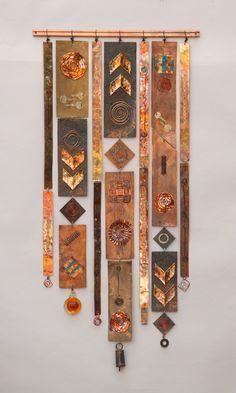 steampunk 5 25 x 54 by Frances Solar Metal Art, Wood Art, Textile Fiber Art, Fiber Art Quilts, Deco Originale, Creation Deco, Copper Art, Painted Sticks, Assemblage Art