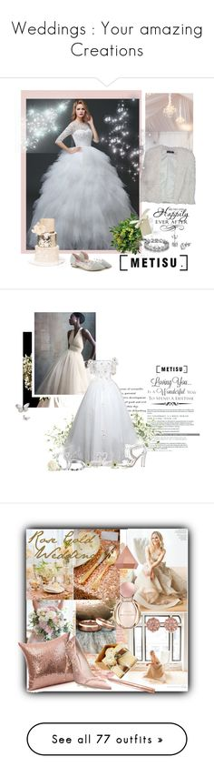 """Weddings : Your amazing Creations"" by dgia ❤ liked on Polyvore featuring Boohoo, WALL, metisu, Lux-Art Silks, Martha Stewart, Lladró, Aquazzura, Bulgari, Carolee and Zuo"