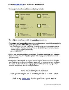 Free download - Using FreeRice.com in Your Classroom: Student Log & directions for class challenge. Great activity for 1:1 or BYOD schools.