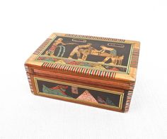 Vintage Egyptian Design Marquetry Wood Box  by GentleVenture