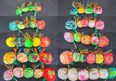 AFTER! Hungry Caterpillar puppets. A very tiny, hungry caterpillar, right up to a big fat caterpillar!