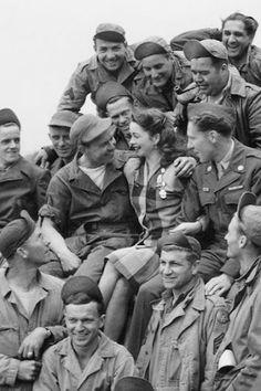 World War II Pin-up girl Margie Stewart visiting troops in Reims France in June 1945