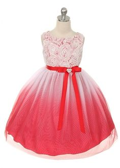if this was the right color...Red Rosette Bodice Ombre Girl Dress