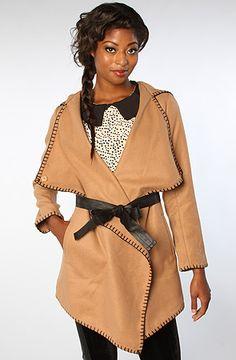 The Merlin Blanket Stitch Twill Belted Coat in Camel by BB Dakota