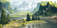 Fantasy Landscapes by Roberto Nieto Fantasy Art Landscapes, Fantasy Landscape, Landscape Art, Landscape Paintings, Landscape Illustration, Illustration Art, Rpg Map, Bg Design, Scenery Wallpaper