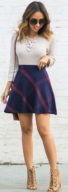 Lace & Locks Lace-up Booties Plaid Circle Skirt Gray Sweater Fall Inspo