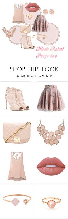 """""""Pink Petal Peep-toe"""" by thecannibalking ❤ liked on Polyvore featuring Dolce&Gabbana, Chicwish, Forever 21, Glamorous, Lime Crime and Michael Kors"""