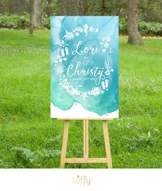 $20 on ETSY | The CHRISTY . Beach Nautical Wedding Wreath Welcome Sign . Custom Watercolor Calligraphy . Blue Teal Mint Green . Destination Starfish . PDF by BuffyWeddings on Etsy