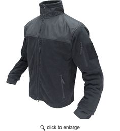 Condor Microfleece Tactical Jacket: Two shoulder and hand pockets; one vertical chest pocket. Full-neck collar. Reinforced neck, shoulders, and forearms. Another layer of torso protection from whatever may come your way.      [$60]