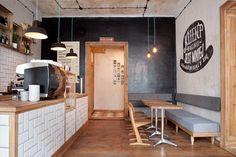 Coffee shop in 2019 coffee shop design, cafe interior, cafe bench. Cafe Restaurant, Restaurant Branding, Restaurant Seating, Restaurant Ideas, Small Coffee Shop, Coffee Shop Design, Hipster Coffee Shop, Coffee Shops, Cafe Bench