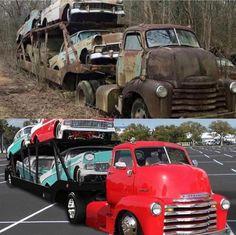 ideas for trucks Old Pickup Trucks, Cool Trucks, Chevy Trucks, Truck Drivers, Antique Trucks, Vintage Trucks, Antique Cars, Classic Trucks, Classic Cars