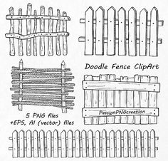 Doodle Fence Clipart set includes: - 5 PNG files with transparent backgrounds, Widest side approximately 8 - EPS, ΑΙ (vector files) Each file is in high quality 300dpi resolution. Suitable for most computer programs This is digital product. File will be available as INSTANT DOWNLOAD on Etsy as soon as your purchase is complete. These graphics are excellent for handmade craft items, printed paper items, invitations, cards, party banners,announcements, tags, jewelry, scrapbooking, web desig...