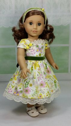 Spring Summer dress by DollClothesByShirley for American Girl dolls Etsy listing at https://www.etsy.com/listing/272420374/sweet-spring-and-summer-dress-and