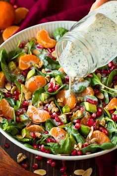 Mandarin Pomegranate Spinach Salad with Poppy Seed Dressing | Cooking Classy