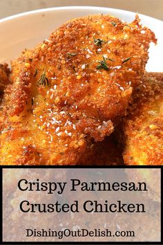 These Parmesan crusted chicken breasts are so flavorful and versatile. Pair them with pasta, rice, potatoes or over a salad. #parmesanchicken #chickenrecipeseasy #whatsfordinner #easydinnerrecipe #chickendinner #parmesancrustedchicken #easydinnerideas #delish #yummyfood