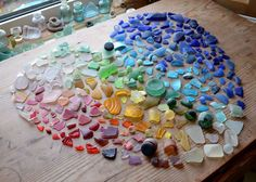 Love this recycled/reclaimed art!  #rainbow #sea #glass #heart