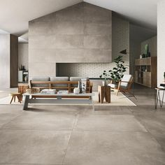 Stylish Concrete Tiles With Texture Introducing the Azuma collection of concrete tiles with a slightly washed out texture. This exquisitely sinply porcelain tile collection is sure to be a hit. Large Floor Tiles, Wall And Floor Tiles, Large Format Tile, Concrete Tiles, Concrete Floor, Living Room Flooring, Tile Living Room, Living Spaces, Interior Design
