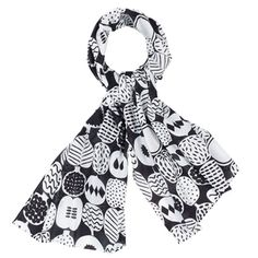 The subdued version of its colorful counterpart. Marimekko Kompotti Black/White Scarf - $69