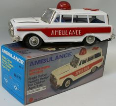 Vintage 1970s Tin Litho Friction Chevrolet Ambulance Medic Car w/ Siren, in box!