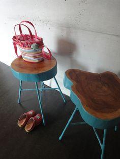 tree trunk stools - wood - turquoise
