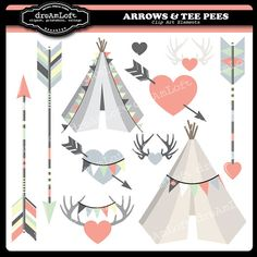 Arrows & Tee Pees Clip Art by DreAmLoft on Etsy, $4.99