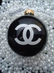 """CHANEL INSPIRED SHINY BLACK GLASS CHRISTMAS TREE ORNAMENT LARGE 3"""" CLASSY GIFT"""