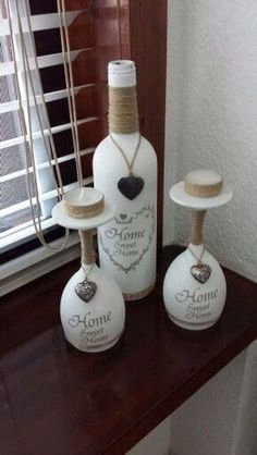 Home Sweet Home, Bottle Set, Wine Bottles, Rustic, Wine Bottle Crafts, DIY, Bottle Craft, Bottle Decor, Decopauge