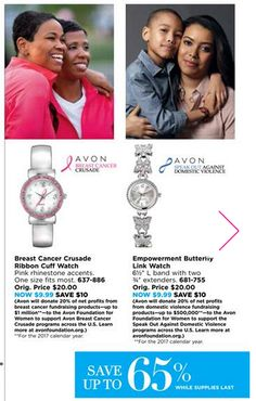 Support your causes with these beautiful watches ON SALE WHILE SUPPLIES LAST! Get your Breast Cancer Crusade watch at https://www.avon.com/product/breast-cancer-crusade-ribbon-cuff-watch-56759?rep=skyfoxy&utm_content=bufferdd72e&utm_medium=social&utm_source=pinterest.com&utm_campaign=buffer. Get your Domestic Violence Crusade watch at…