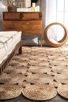Rugs USA - Area Rugs in many styles including Contemporary, Braided, Outdoor and Flokati Shag rugs.Buy Rugs At America's Home Decorating SuperstoreArea Rugs Add contemporary elegance to your room with this braided jute fiber hand woven rug. Natural Fiber Rugs, Natural Area Rugs, Natural Rug, Diy Carpet, Rugs On Carpet, Cheap Carpet, Nature Decor, Boho Decor, Rope Rug