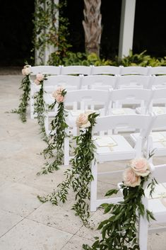 Greenery outdoor wedding aisle decoration ideas with a touch of blush. Having flowers on the chairs on the aisle add more color to the ceremony. Wedding Aisle Outdoor, Wedding Ceremony Chairs, Chair Decor Wedding, Diy Wedding Aisle Decor, Wedding Pew Markers, Church Wedding Ceremony, Outdoor Weddings, Wedding Isle Decorations, Outdoor Wedding Centerpieces