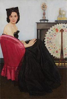 Bernard BOUTET de MONVEL (Paris 1884 - Les Açores 1949) Portrait de dame au fauteuil rouge Huile sur toile 83 x 56 cm Signé en bas à droite Bernard B. de Monvel, porte sur le châssis la mention manuscrite garder