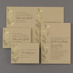 Add some glam to your rustic wedding! You can afford to with the gold foil leaves on this kraft paper sep 'n send wedding invitation.
