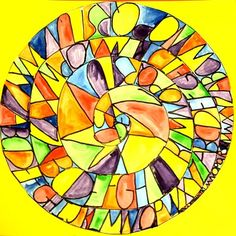 Inspiration: Jasper Johns. Draw a spiral. Write the ABC's in the spiral, then paint inside the closed shapes that are created by the letters touching the top and bottom of the spiral lines. Repeat colors across the composition to create balance  Examine rose windows, from the Renaissance period. Compare and contrast spirals with the antique windows.