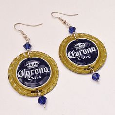 Corona Extra Beaded Bottle Cap Drop Dangling Earrings, Crystal Beads OOAK, Recycled Upcycled Statement Earings by EverydayWomenJewelry #CoronaExtra #BottleCap #beer #earrings #Upcycledjewelry