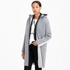 Stadium-cloth hooded zip coat in colorblock