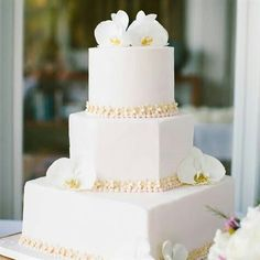 Square round  and hexagonal white orchid cake with beige seashells