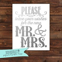 Silver Wedding Signs Please leave your wishes for by dodidoodles