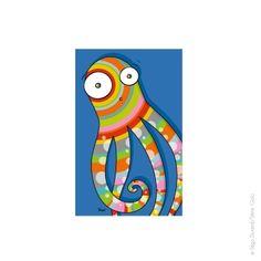 Tableau pieuvre (22x14 cm)