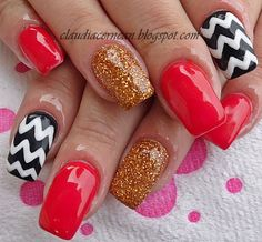 Chevron Nails -   #nail #nails #nailart